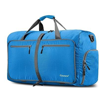 Gonex - Bolsa de Equipaje/Viaje de Duffel Plegable Impermeable y Resistente 60L Travel Bag para Viaje/Deporte Azul Claro