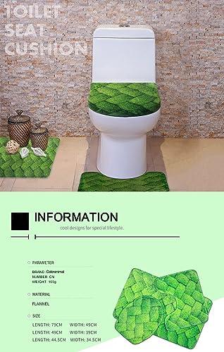 Coloranimal Kawaii Awesome Animal Sloth Flower Design Home Bathroom Bath Rugs 3 Piece Set Area Rug Contour Mat Lid Cover