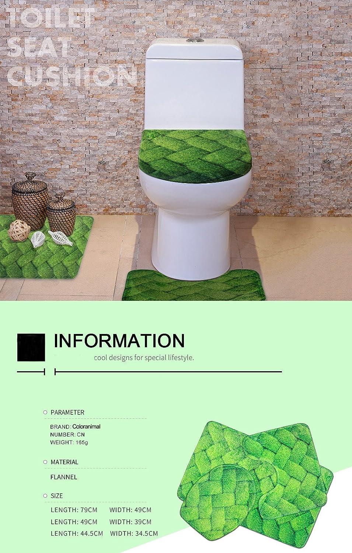 Coloranimal Washable Bathroom Rug Sets 3 Piece 3D Wolf Printed Toilet Lid Cover Contour Bath Mat Welcome Doormat