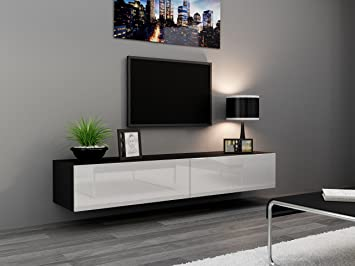 Seattle TV Stand 180  TV cabinet with High Gloss fronts - Hanging TV  console for