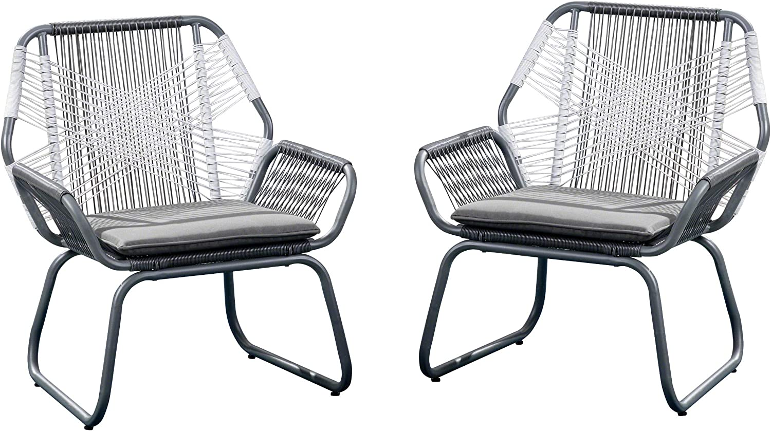 Christopher Knight Home 305086 Lydia Outdoor Wicker Club Chair (Set of 2), Gray/White/Gray : Garden & Outdoor