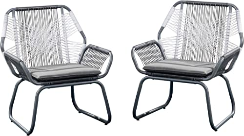 Christopher Knight Home 305086 Lydia Outdoor Wicker Club Chair Set of 2 , Gray White Gray