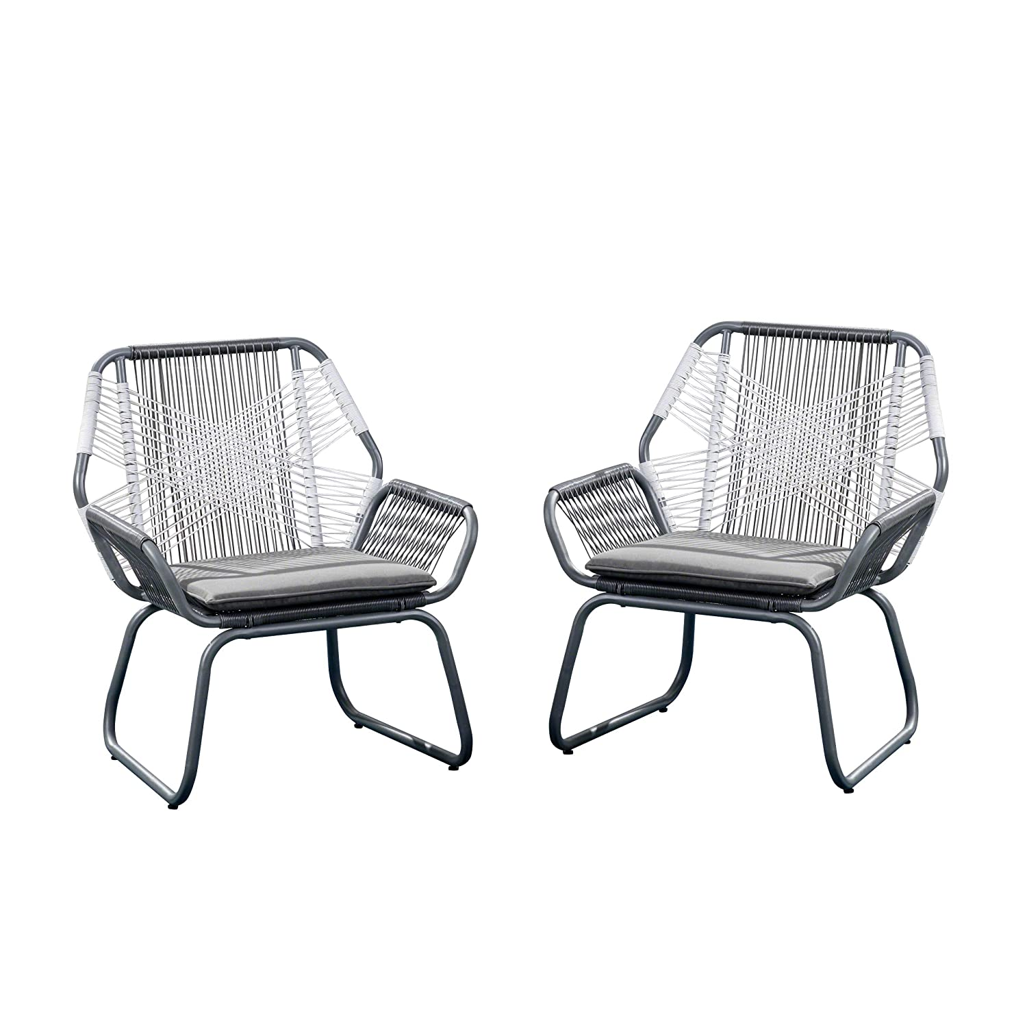 Christopher Knight Home 305086 Lydia Outdoor Wicker Club Chair (Set of 2), Gray and White