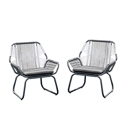 Christopher Knight Home 305086 Lydia Outdoor Wicker Club Chair Set of 2 , Gray and White