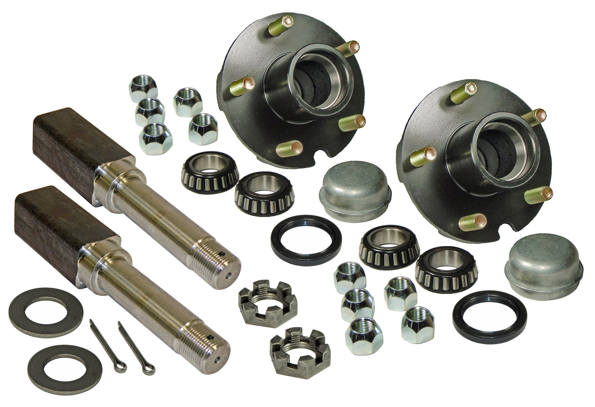 Rigid Hitch Pair of 5-Bolt On 4-1/2 Inch Hub Assembly (AKSQ-2200545) Includes (2) Square Shaft 1-1/16 Inch Straight Spindles & Bearings by Rigid Hitch