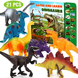 Dinosaur Toys for Boys and Girls - 21 Packs Realistic Dinosaurs Figures with Sound Book, Trees and Rocks, Including T-Rex Triceratops Velociraptor, Best Gifts for Kids (Dinosaur Toys with Sound Book)