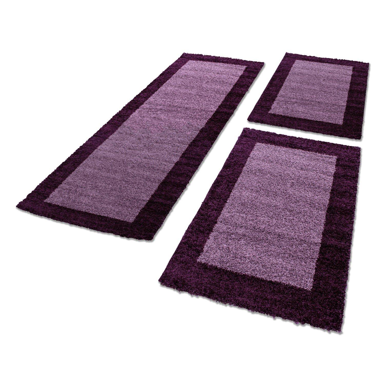 Ayyildiz Bettumrandung Läuferteppiche für Wohnzimmer 3 tlg. Läuferset_Life_1503, Maße 2X 80x150 cm   1x 80x250 cm, Farbe Lila