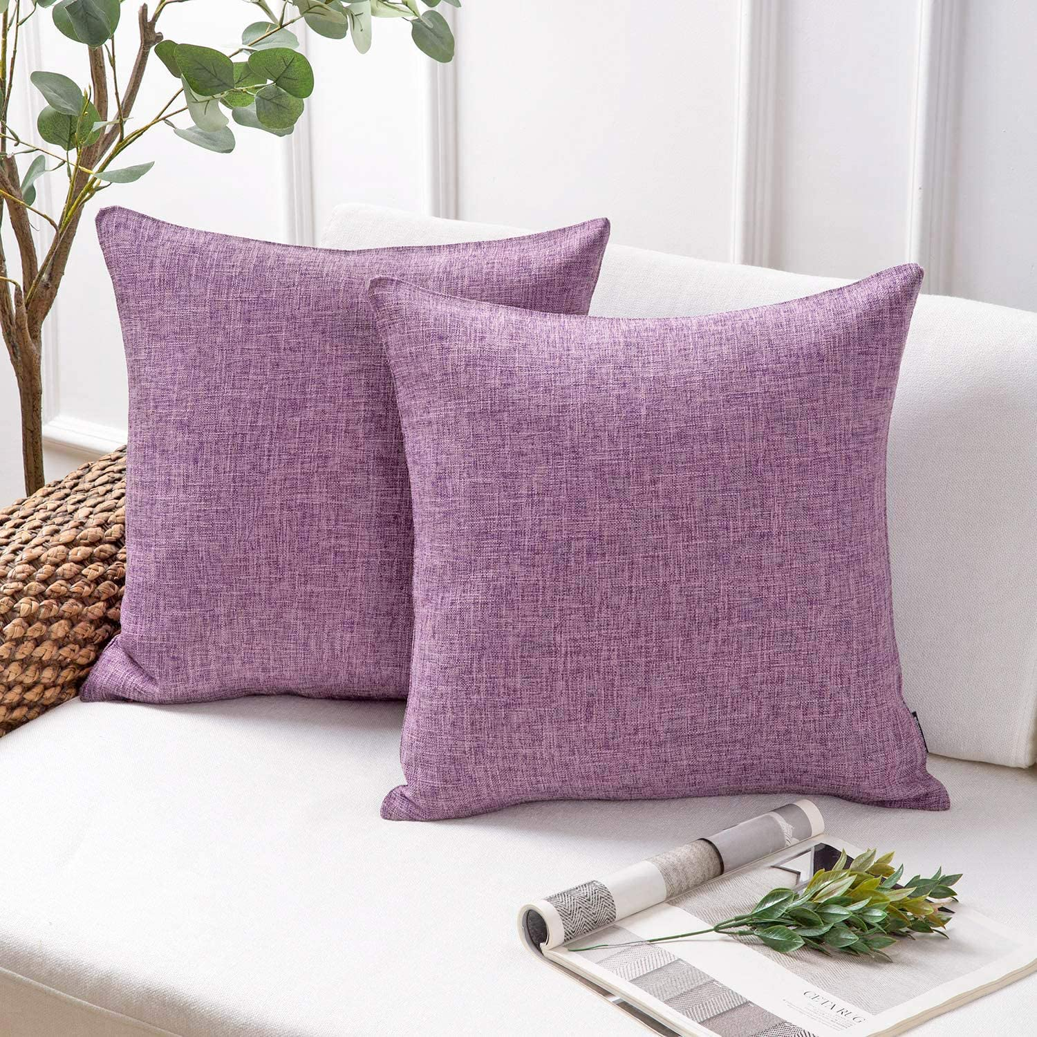 Phantoscope Throw Pillow Cover Textured Faux Linen Series Decorative Cushion Covers for Home Decor Sofa Pack of 2, Light Purple 20 x 20 inches 50 x 50 cm