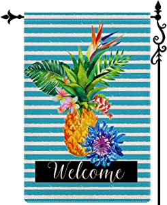 DecorMaster Hello Welcome Summer Garden Flag Pineapple Tropical Fruit Outdoor Decorations Burlap Vertical Double Sided Yard Décor 12.5x18 Inch A Style