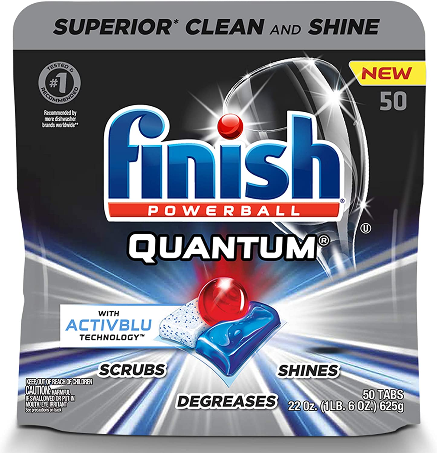 Finish - Quantum with Activblu Technology - 50ct - Dishwasher Detergent - Powerball - Ultimate Clean and Shine - Dishwashing Tablets - Dish Tabs