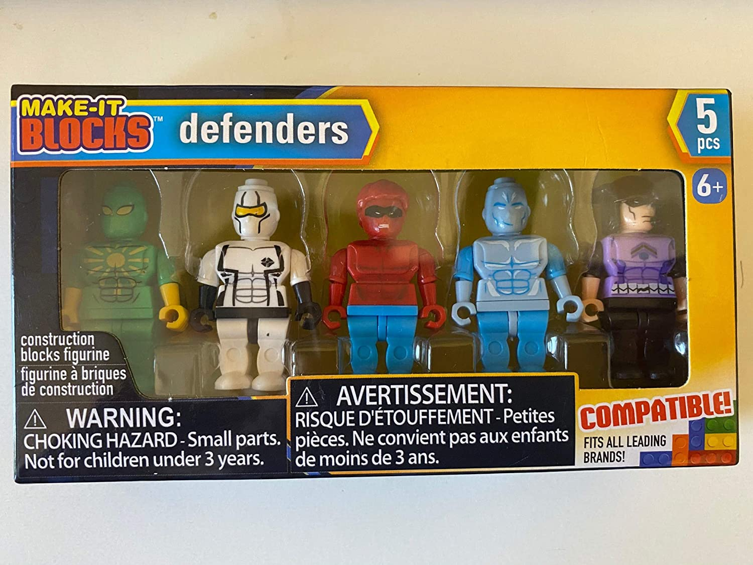 Minifigures by Make-it Blocks Compatible with Leading Brand Building Bricks Defenders 5-ct Pack