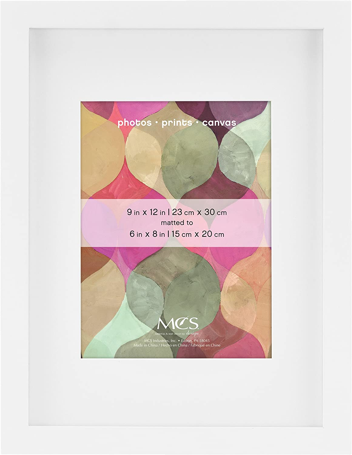 MCS Art, 9 by 12 6 by 8-Inch Mat Opening, White Picture Frame