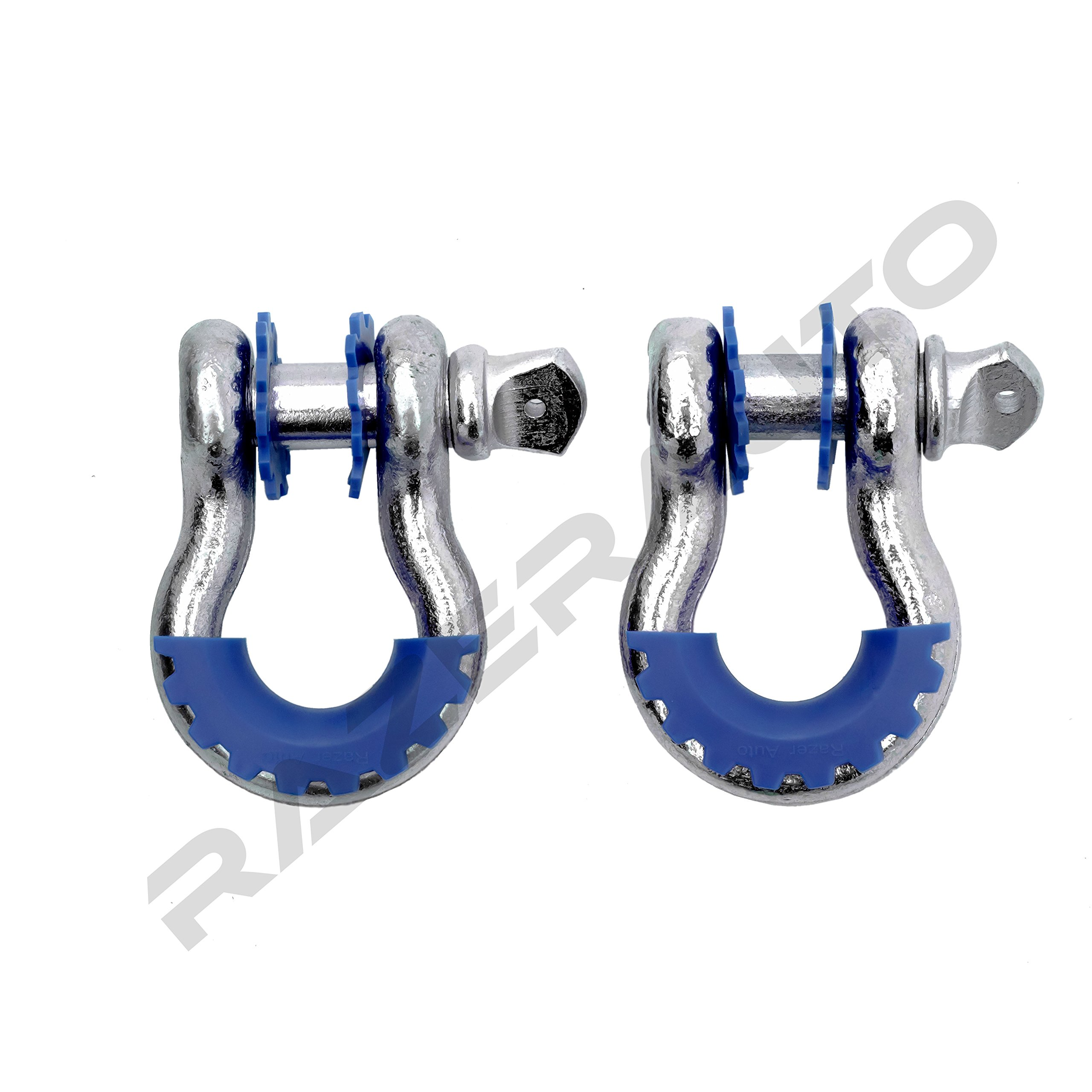 Razer Auto 1 Pair of Silver D-Rings Shackle with Blue Isolator & Washers Gear Design Rattling Protection Cover (Silver/Blue)