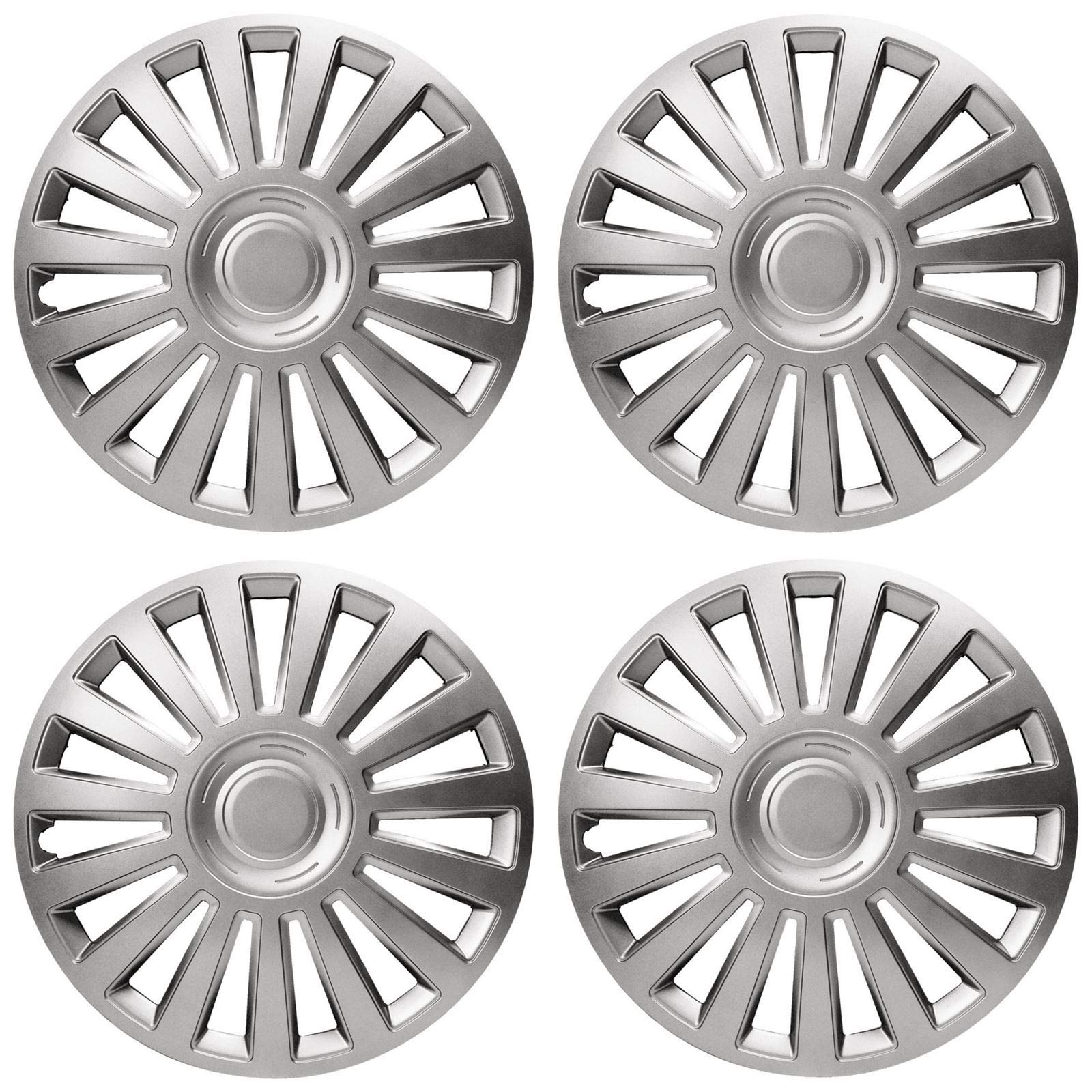 UKB4C 4x Wheel Trims Hub Caps 14 Covers fits Peugeot 106 107 108 206 207 208 in Silver