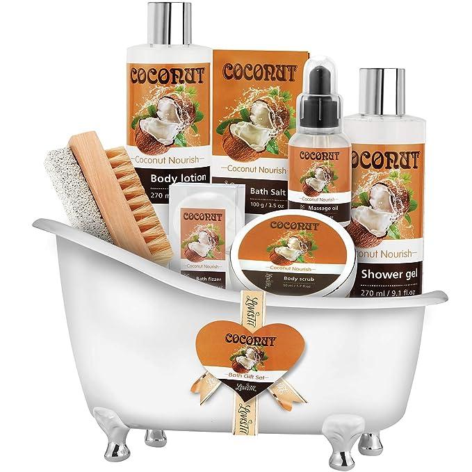 Spa Gift Basket-Bath and Body Gift Set,Coconut For Women-Spa Bath Kit & Bath Gift Basket Birthday Gift Includes Bath Bombs, Message Oil, Body Scrub, Bath Salt, Body Lotion, Shower Gel and Scrub Brush