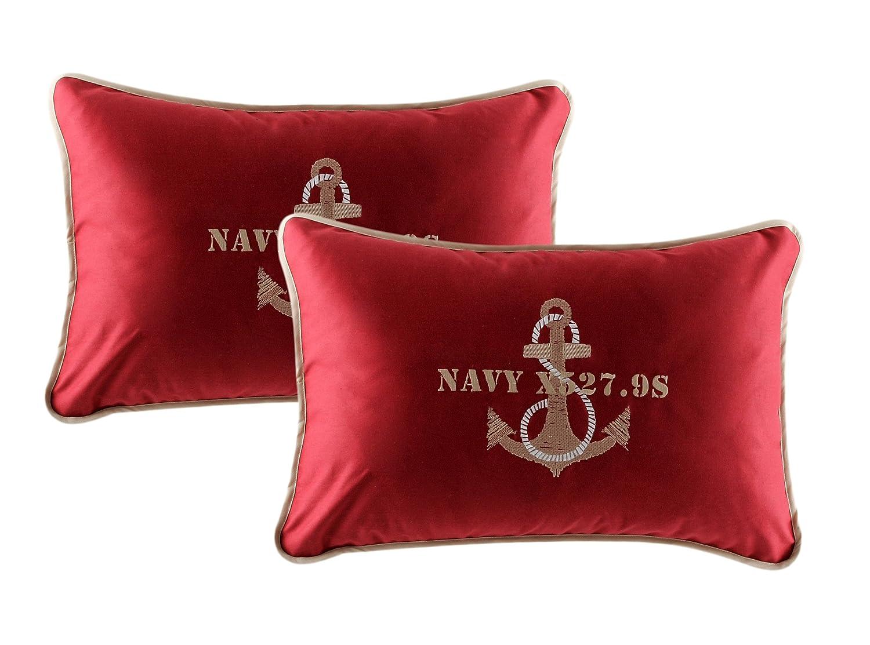 MB Coastal Designs Anchor Throw Pillow, Burgundy, Set of 2 by MB Coastal Designs [並行輸入品]  バーガンディー B00UAIPRRS