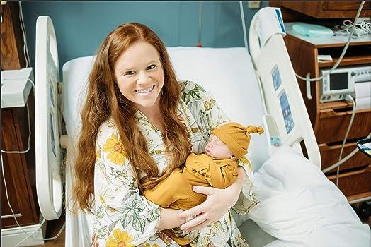 Conjunto de batas para mamá y recién nacido, vestido de bebé, sombrero/diadema - albornoces de entrega para maternidad hospitalaria y envoltura - Multicolor - Small: Amazon.es: Ropa y accesorios