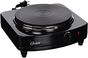 Oster CKSTSB100-B-2NP Solid Single Burner with Adjustable Temperature Control, Black