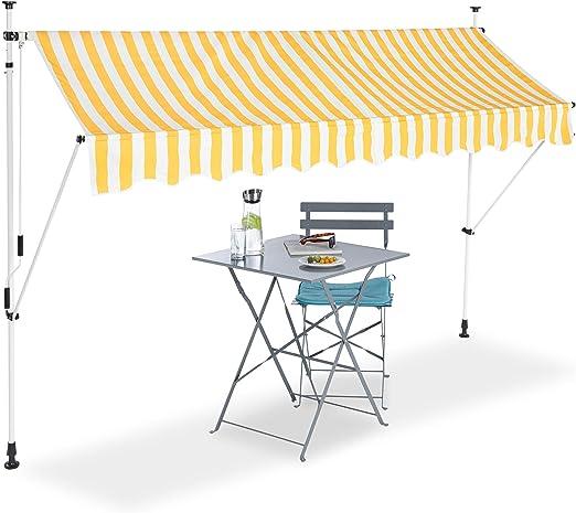 Senza Forare a Manovella Relaxdays Tenda da Sole Bianco Larga 150 cm Protezione per Il Balcone 150 x 120 cm Regolabile a Righe Gialle