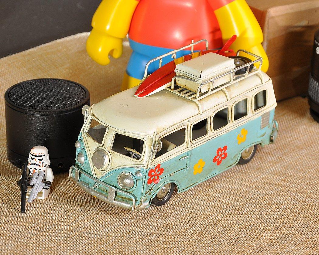 para Caravana Estilo Retro met/álico T1 cl/ásico Camper Van de Juguete de 6,3 Pulgadas autob/ús SCSpecial Modelo de Juguete Playa