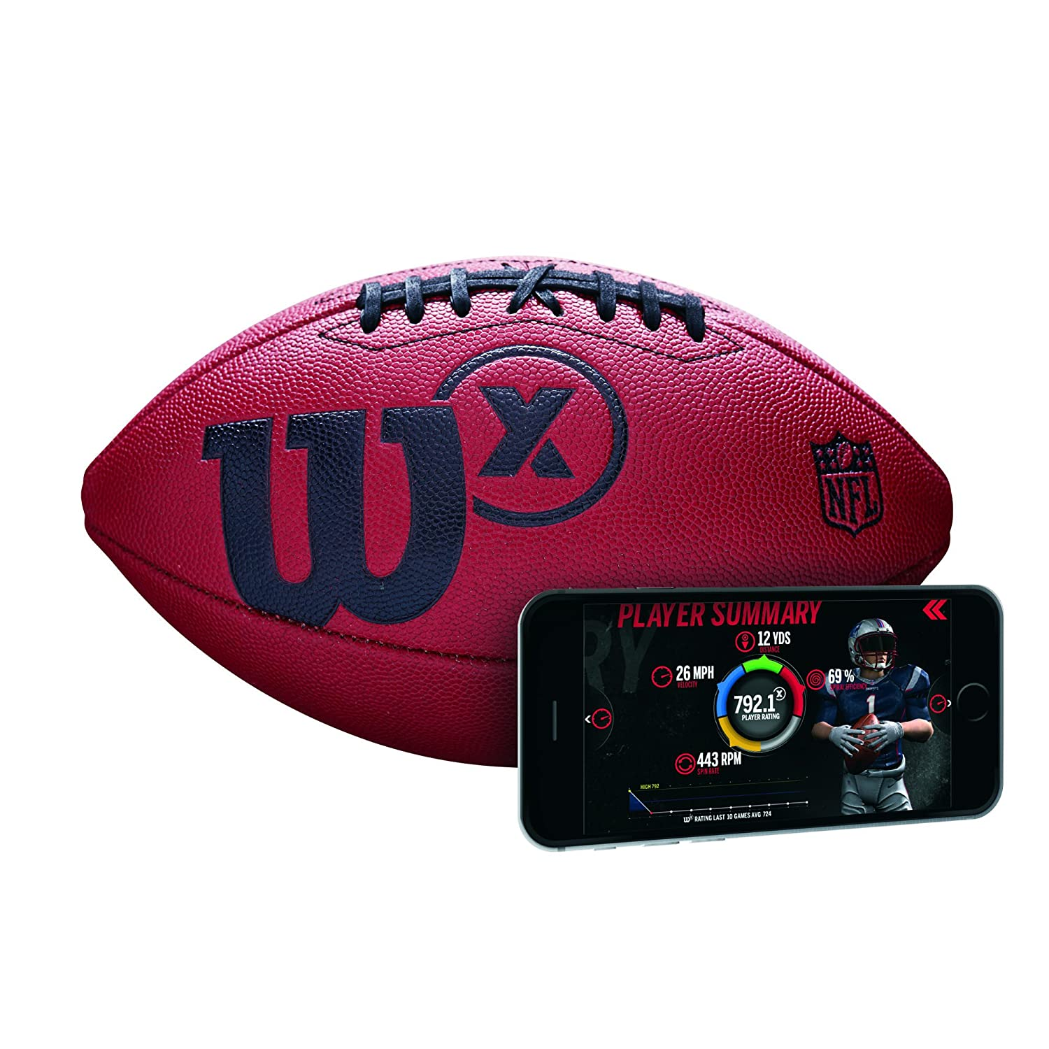 Wilson American Football with Sensor for Tracking Throws and Stats from App, X Connected, Brown