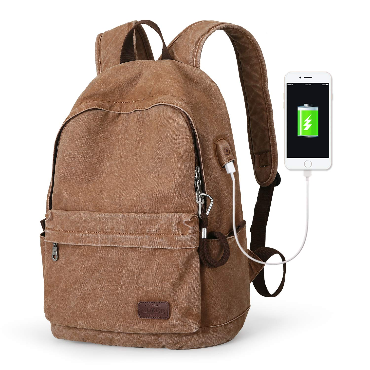 Muzee Canvas Backpack with USB Charging Port for Men Women, Lightweight Anti-Theft Travel Daypack College Student Rucksack Backpack Fits up to 15.6 inch Laptop Backpack Light Brown by Muzee