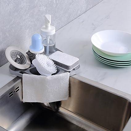 Amazon kitchen sink caddy sponge holder scratcher holder kitchen sink caddy sponge holder scratcher holder cleaning brush holder sink organizergrey workwithnaturefo