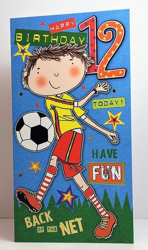 Fussballspieler Boy Happy 12 Geburtstag Karte Amazon De Burobedarf