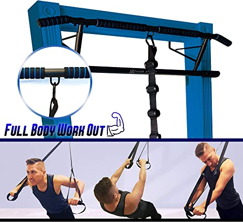 Vigor Athlete's Pull-UP BAR with Adjustable Cross Fit Doorway Straps - Premium Quality - Full Body Work Out - Upper Body - Lower Body and Core Exercises No Installation Required and Ready for Use