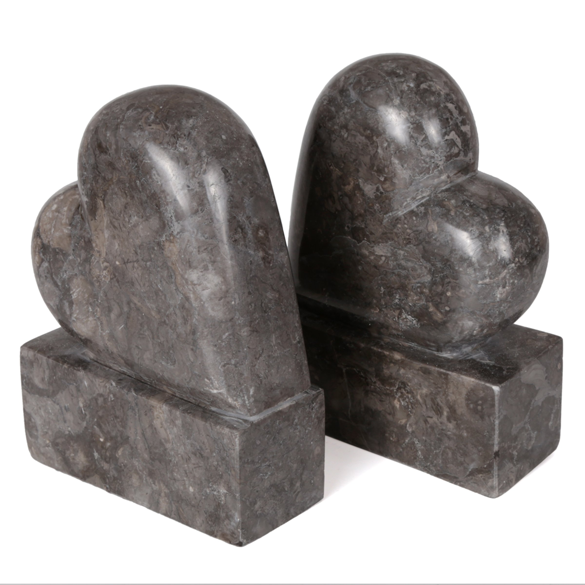 Creative Home 2 Piece Genuine Charcoal Marble Stone Heart Shapped Bookends Set by Creative Home