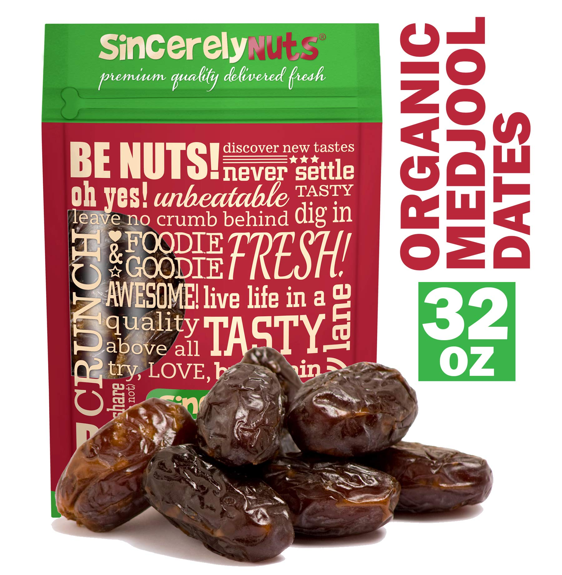 Sincerely Nuts Organic Medjool Dates - Two Lb. Bag - Divine Taste - Fresh & Plump - Packed with Healthy Nutrients - Kosher Certified