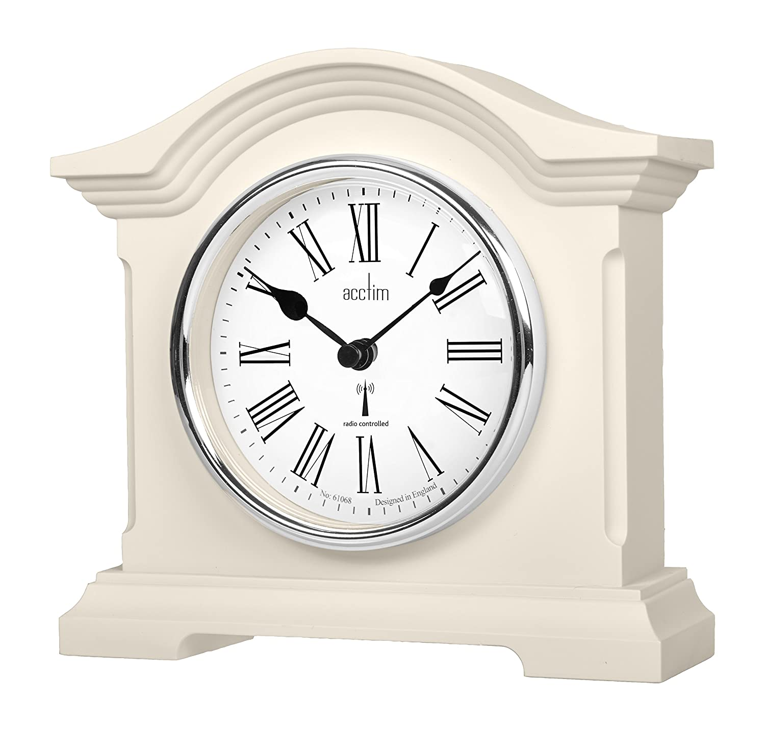 Acctim Cream Coloured Quartz Battery Radio Controlled Mantle Mantel Clock - Chesterfield 77162