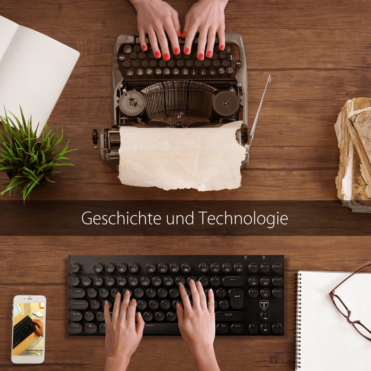 VicTsing - Máquina de Escribir de Estilo mecánica Teclado, 87 Teclas con disposición QWERTZ Multimedia experimentar Teclas de función para Gamer, bolígrafo, ...