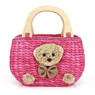 Amazon.com: Tela a mano oso de peluche paja bolsa oso cabeza ...