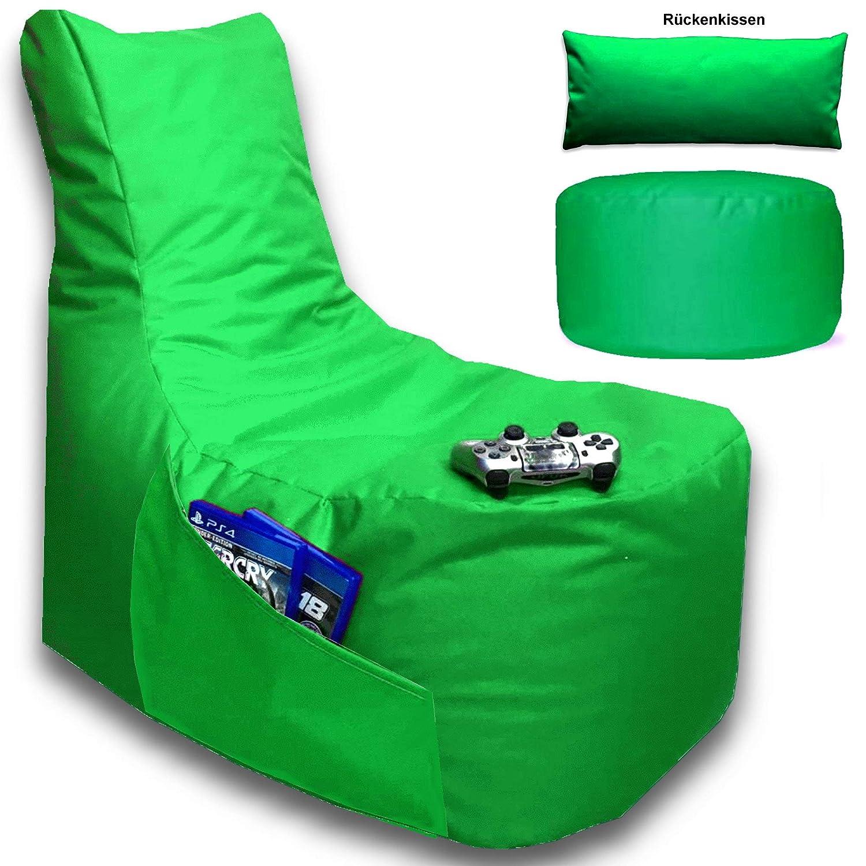 Sitzsack 3er Set Big Gamer Sessel mit EPS Sytropor Füllung - Rückenkissen - Hocker - In & Outdoor Sitzsäcke Sessel Kissen Sofa Sitzkissen Bodenkissen (Big Gamer Sitzsack 3er Set Uni Farbe, Grün)