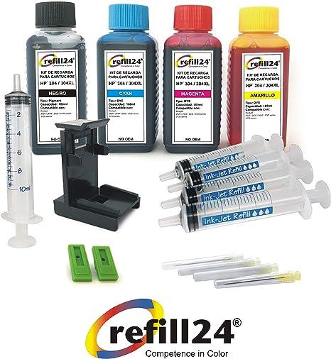 Kit de Recarga para Cartuchos de Tinta HP 304, 304 XL Negro y Color, Incluye Clip y Accesorios + 400 ML Tinta: Amazon.es: Electrónica