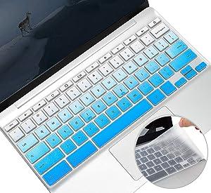 2 Pack Keyboard Cover Skin for HP Chromebook x360 11.6/14 inch, HP Chromebook 11,14 G2/G3/G4/G5/G6 EE/G7 EE/11A-NB0013DX, HP Chromebook 14B-CA /14-DA/14a-na Keyboard Cover Protector(Ombre Blue+Clear)