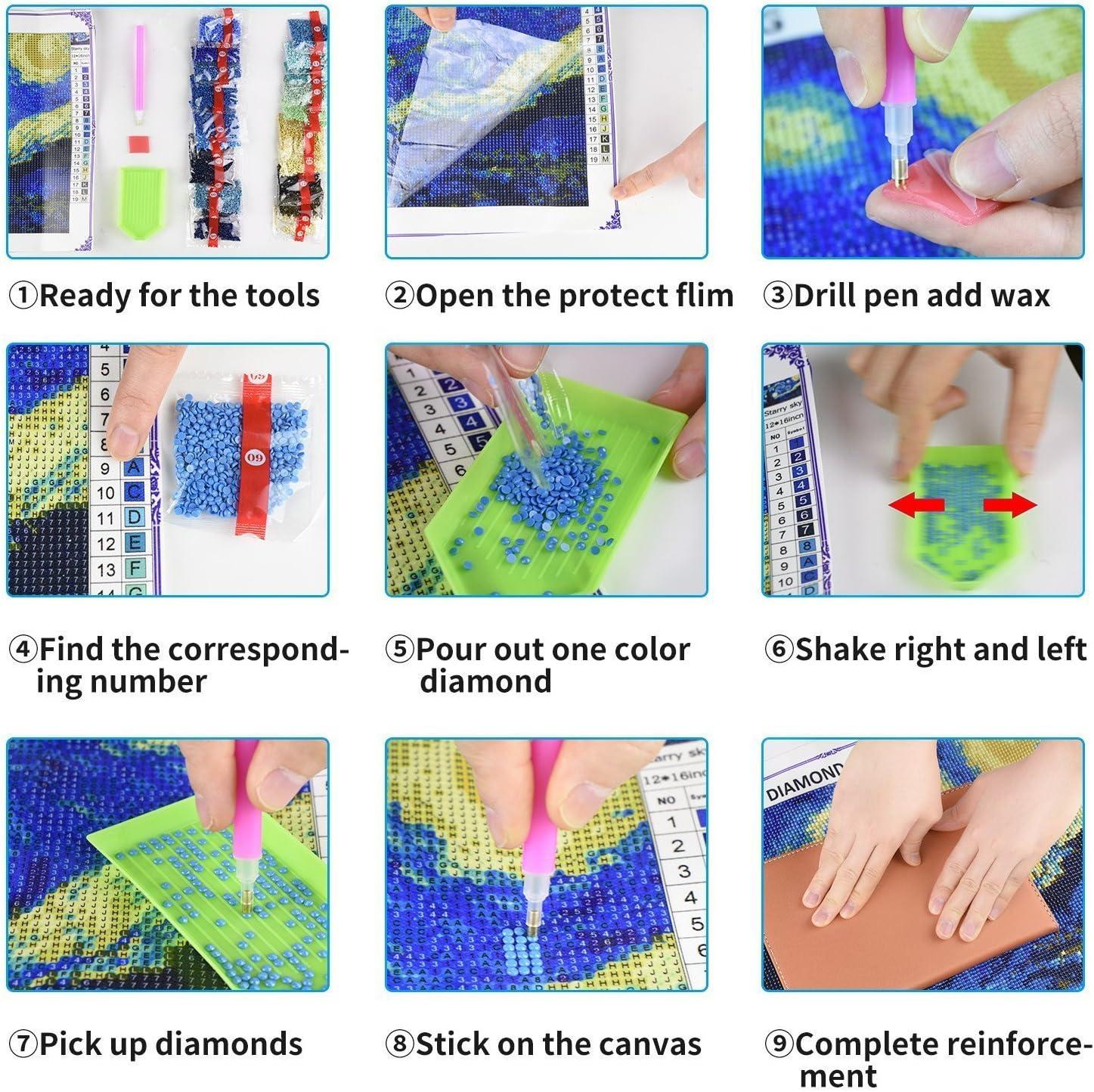 KAMIERFA 5D Diamonds Painting Kits Vollbilder DIY Diamant Painting Stickerei auf Leinwand Kunstwerk Kits f/ür Wand Heimdecor Goldgr/üner Ginkgo 30x30cm