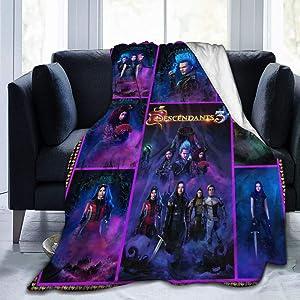 Bestrgi Adults Kids Flannel Fleece Blanket De-s-cen-dan-t-s 3 Warm 3D Printing Bedroom Living Room Home Throw Blanket for Bed Couch Chair Sofa Travel 50