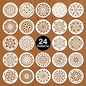 Mocoosy 24 Pack 5 Inch Mandala Stencils - Mandala Dot Painting Stencil Template for Painting on Wood Reusable Plastic Drawing Stencil for Rock Stones Wall Fabric Furniture