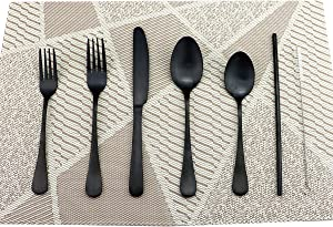 Gugrida 24 Pcs Luxury 18/10 Stainless Steel Flatware Set Matte Black Silverware Set Dinner Knife Fork Spoon w/ Stainless Steel Reusable Drink Straws Brush Pouch