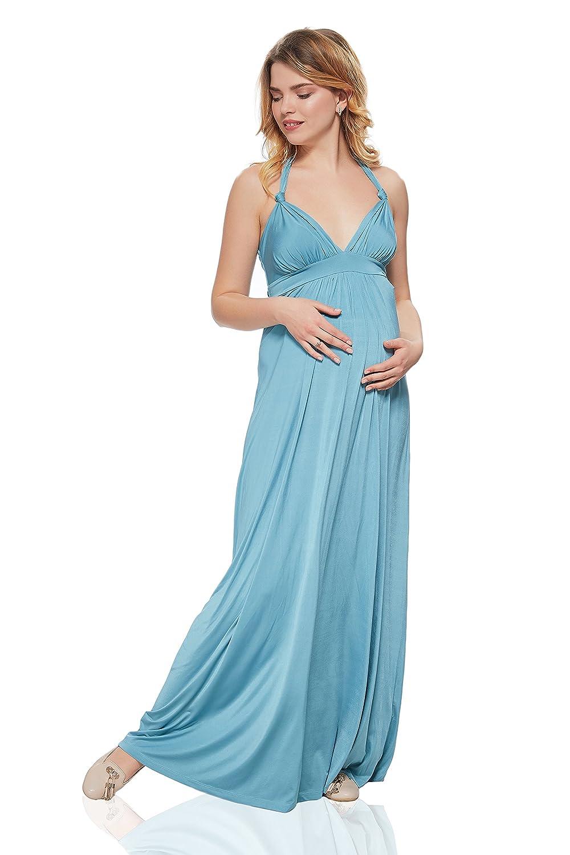 Maternity Maxi Dress Sleeveless V Neck Halter Back Empire Waist Long ...
