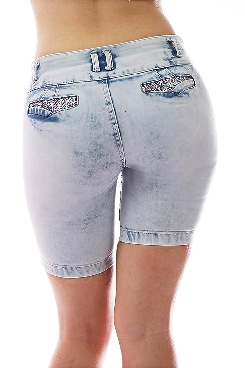 ZARINA 1303 Pantalon Vaquero Corto de Mujer, Push up/Levanta Cola, Pantalones Elasticos Colombian, Color Azul, Talla 34-48/XS-3XL: Amazon.es: Ropa y ...