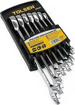 TOLSEN HW84-VCES Estuche de 7 llaves fijas (boca abierta y carraca de herramientas): Amazon.es: Bricolaje y herramientas