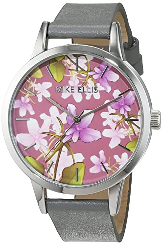 Mike Ellis New York Damen-Armbanduhr La Fleur Analog Quarz Leder SL4310B8