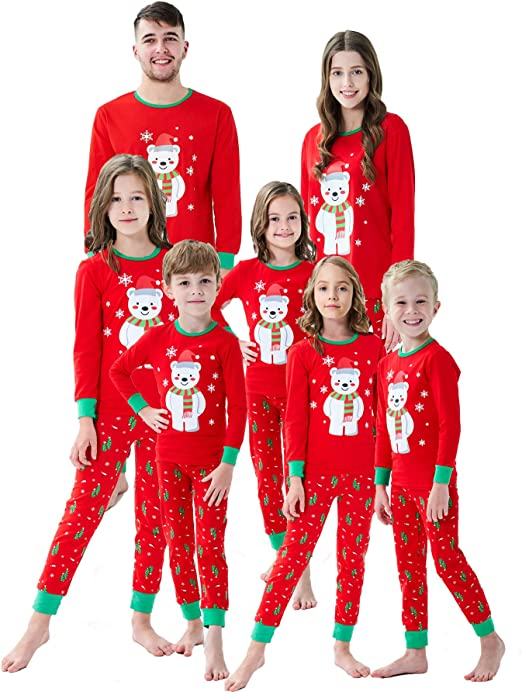 Family Matching Pajamas Sets Christmas Pajamas Outfit Santa Striped Holiday Clothes PJ Sets Boys Girls Kids Sleepwear