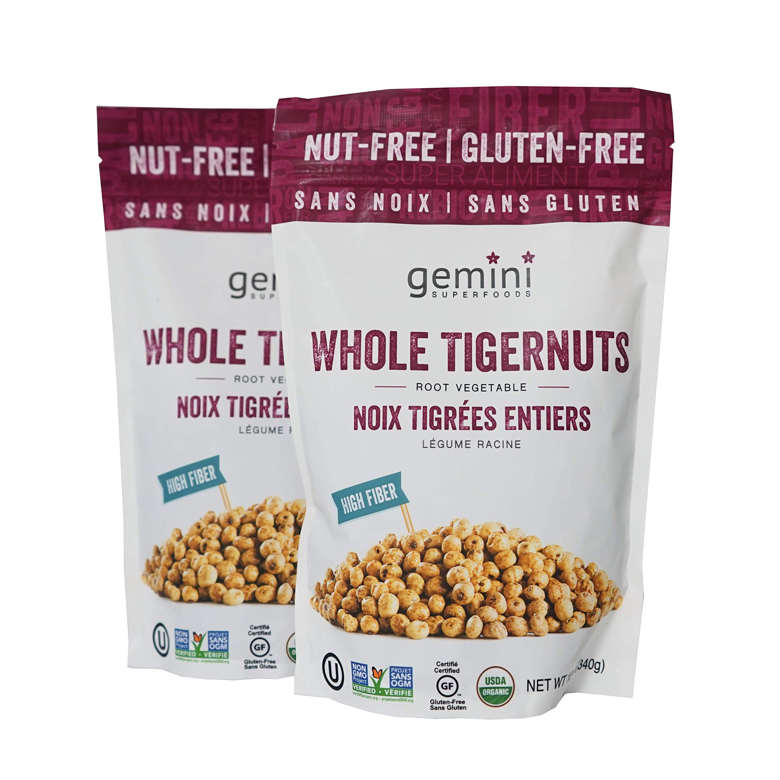 Tigernut – Ready to Eat Dry Tiger Nuts – Low Calorie Gemini Tiger Nuts 12oz (2-Pack) – Vegan, Gluten Free, High Fiber Raw Tiger Nuts – Organic, Nut Free Large Tigernuts for Digestive and Heart Health