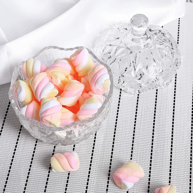 Di/ámetro: 9,5CM ComSaf Bomboneras de Cristal con Tapa Bote Cristal para Galletas Caramelo de Menta Tarro de Dulces Chuches