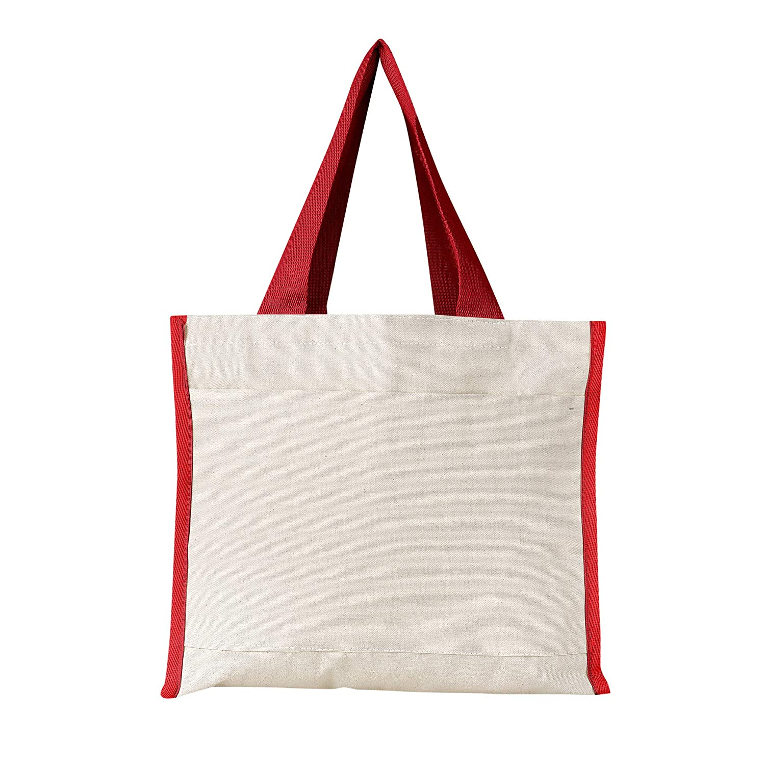 (6, Natural) - Heavy Canvas Reusable Tote Bags with Front Pocket, Side and Bottom Gussets, Fancy Looking Plain Tote Bags, 100% Natural Canvas Strong Wholesale Tote Bags by BagzDepot (6, Natural) B06XDW1PC4 レッド  レッド|6, 石田スポーツ BRIO 1e934cb9