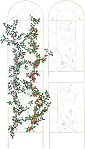 Sungmor Large Wrought Iron Garden Trellises for Climbing Plants - 82.5 Inch Tall & 2PC White Pack - Beautiful Retro Style Metal Fence Trellis - Gardening Vines Plant Support for Flower Rose Climbing